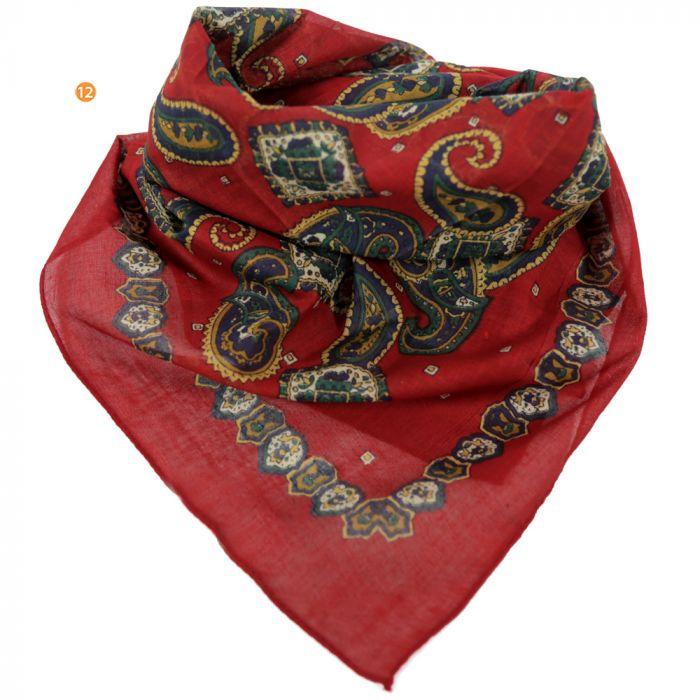 Pañuelo hombre 50x50 cm estampado rojo algodón origen india x1U