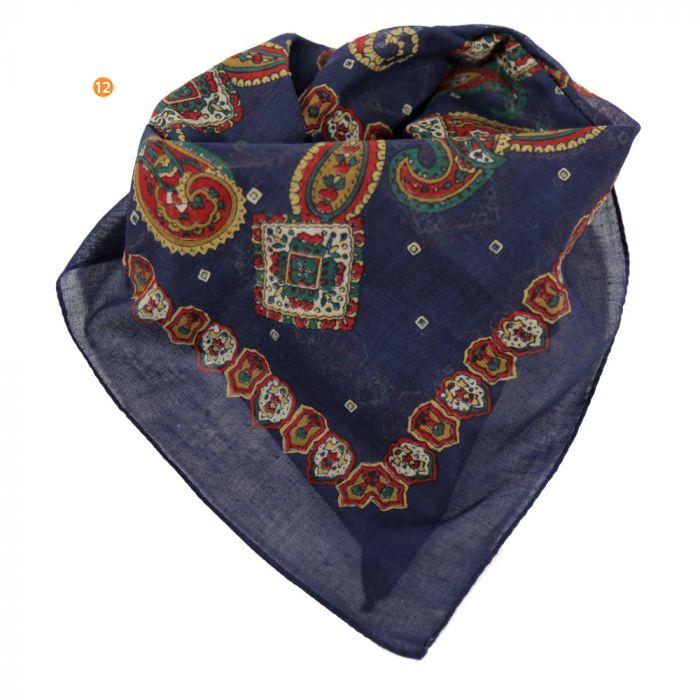 Pañuelo hombre 50x50 cm estampado azul algodón origen india x1U