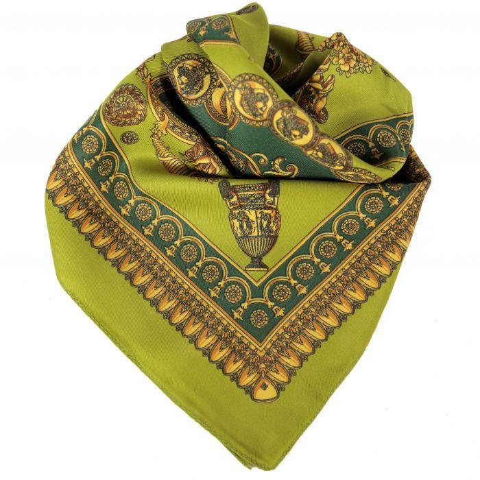 Pañuelo hombre 60x60 cm estampado verde seda origen italia x1U