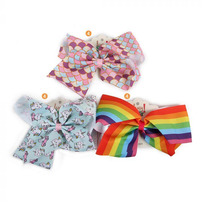 Moño Teen Tela Con Hebilla Estampa Unicornios Y Multicolor x1u