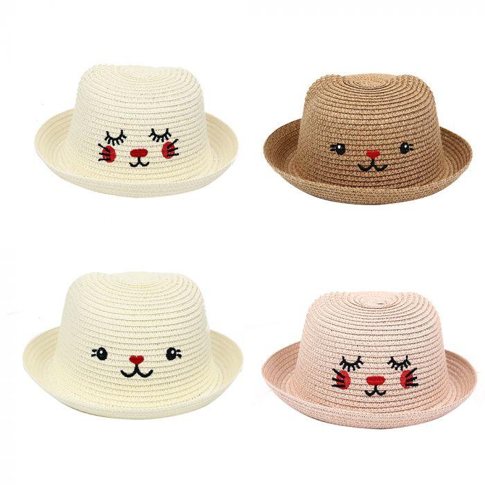 Sombrero bombin infantil con cara de gatito x1u