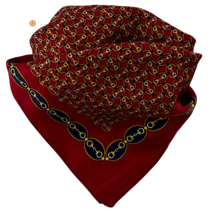 Pañuelo hombre 60x60 cm estampado cadenas bordó origen italia x1U