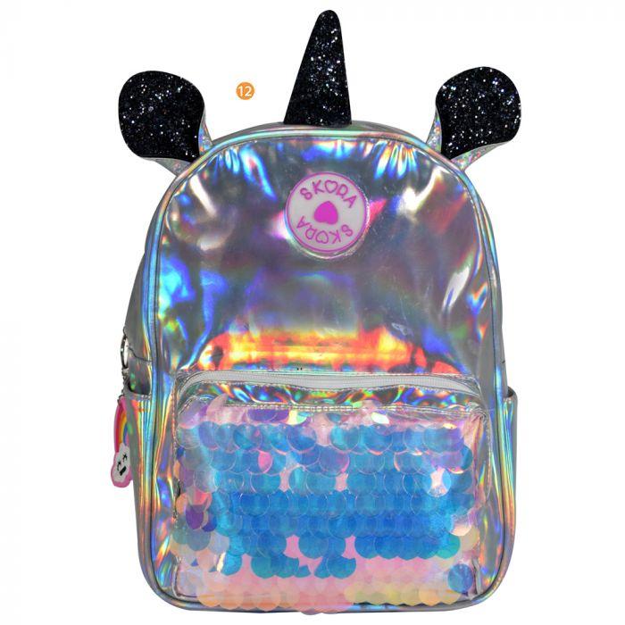 Mochila Unicornio Pu Holograma + Lentejuelas 12 Pulg x1u
