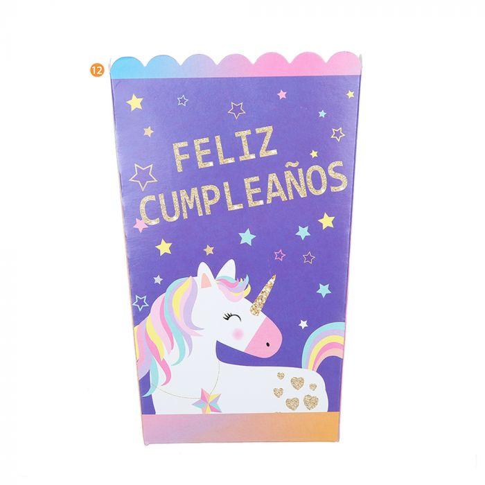 Bolsa de Caja Pochoclo Unicornio x10u
