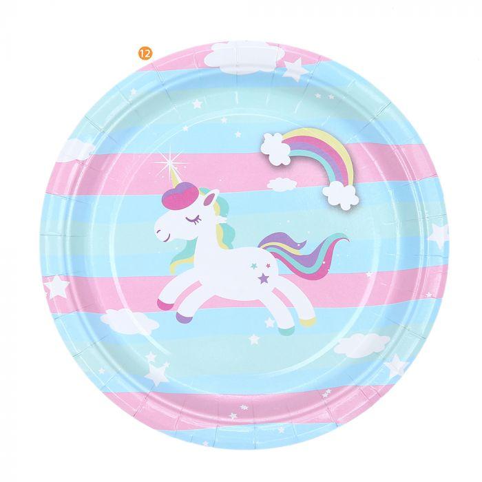 Bolsa de Platos Unicornio Fondo Rayado chico x10u