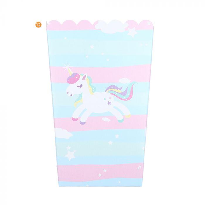 Bolsa de Caja de Pochoclo Unicornio Fondo Rayado x10u