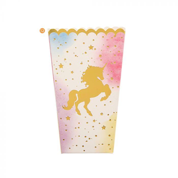 Bolsa de Cajas de Pochoclo Carton Unicornio Fondo Degrade x6u