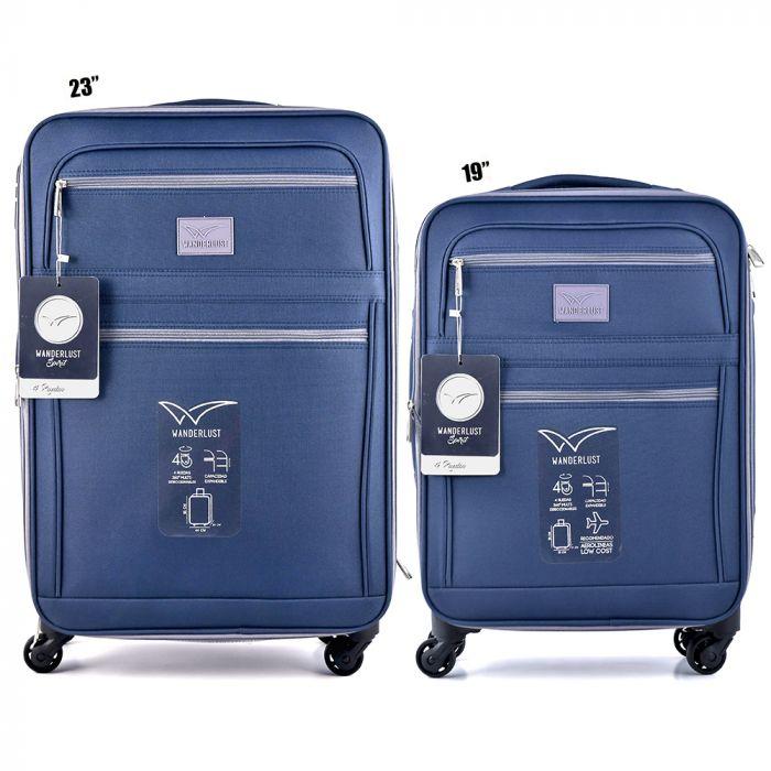Set x 2 valija mediana y chica de 4 ruedas color azul x2u