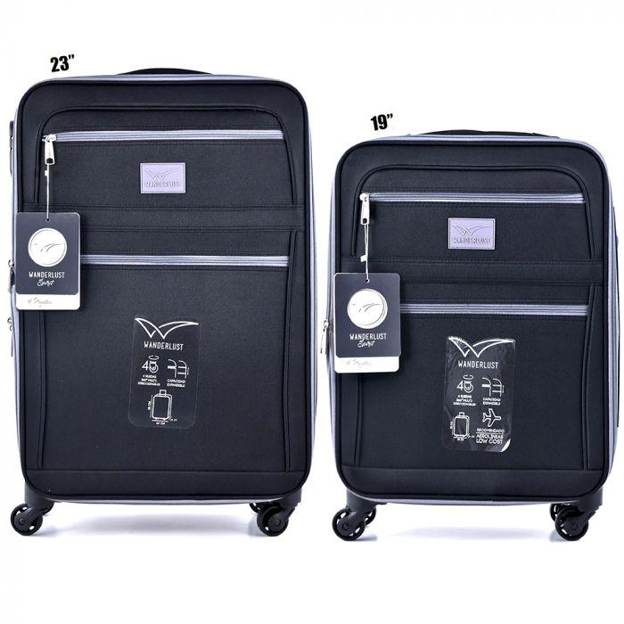 Set x 2 valija mediana y chica de 4 ruedas color negro x2u