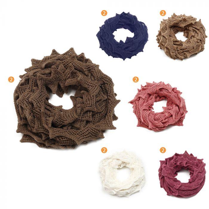 Cuello doble dama 54x36 cm liso tipo crochet 100% acrilico x1u