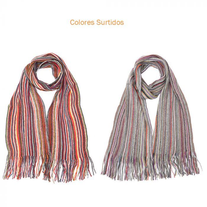 Bufanda hombre 180x22 cm rayada multicolor con flecos x1u