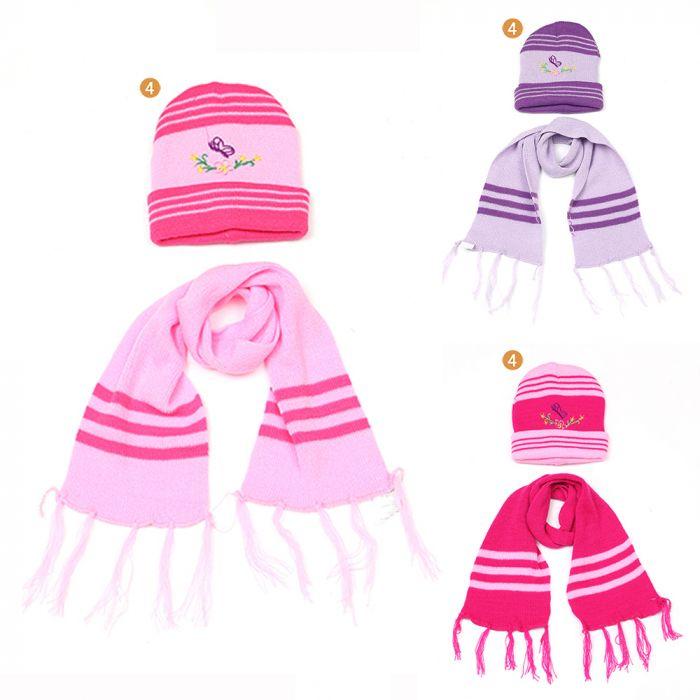 Set de gorro y bufanda infantil nena bordado x2u