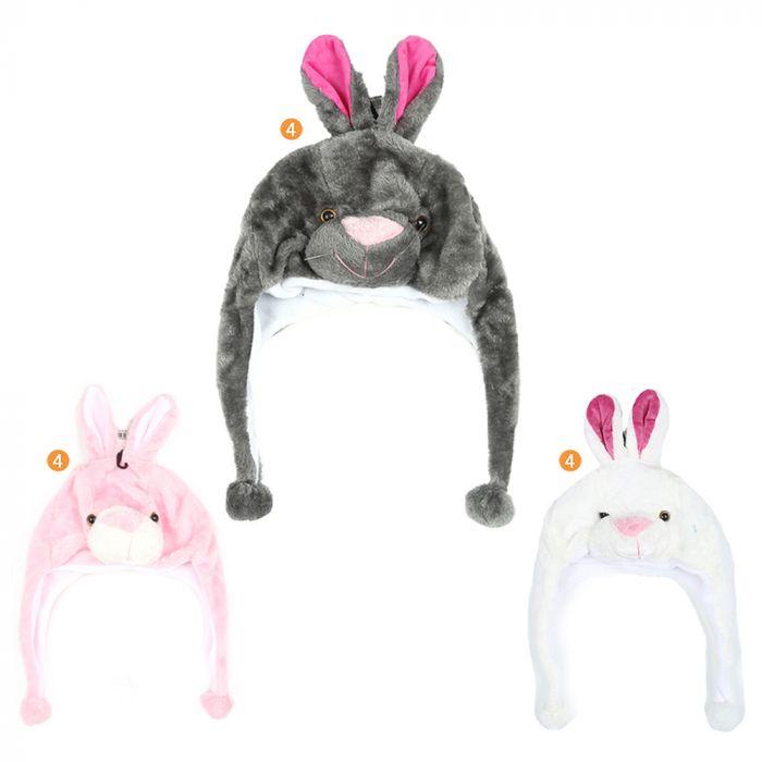 Gorro coya infantil peluche con carita conejo x1u