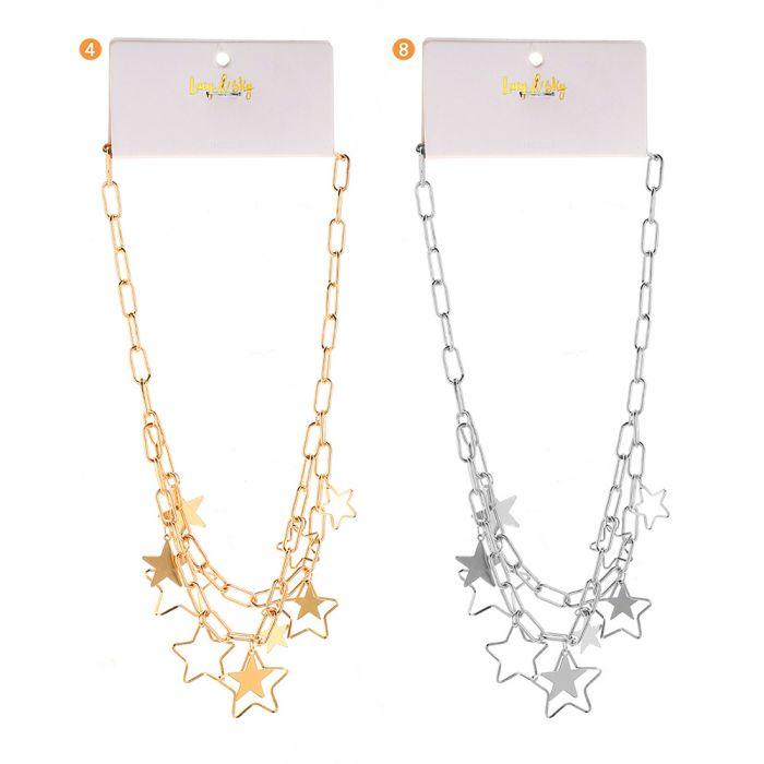 Colgante  cadenas con dijes estrellas x1u