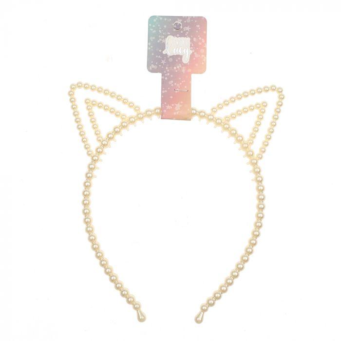 Vincha rigida infantil perlas con formitas x1u