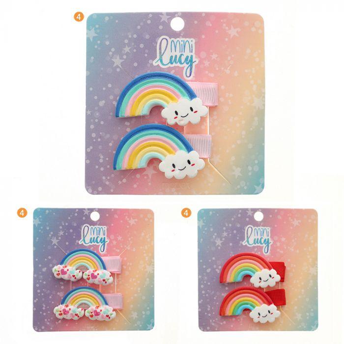 Set pico de pelo infantil aplique arcoiris x2u