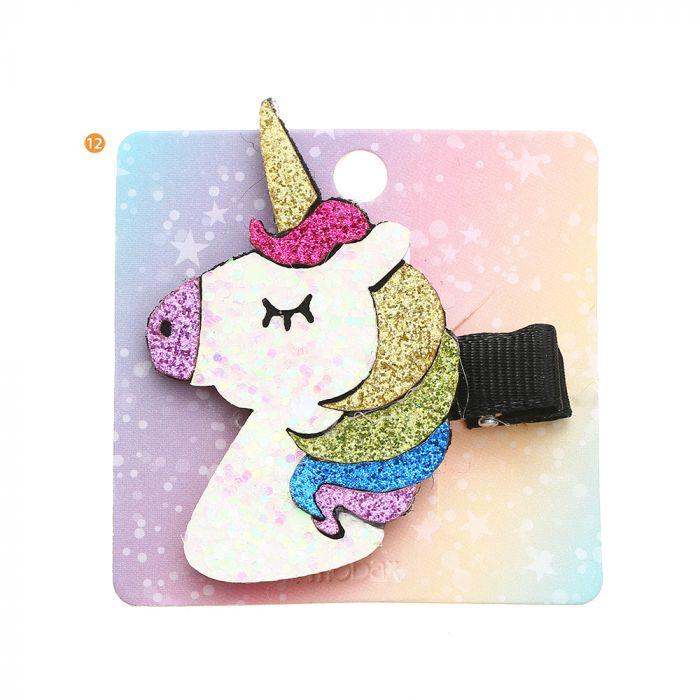 Pico de pelo infantil unicornio brillo x1u