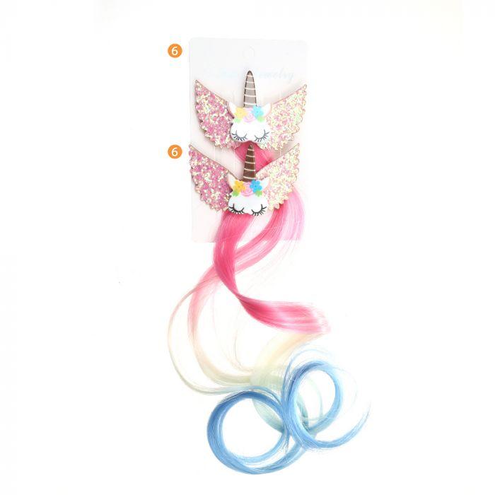 Set pico de pelo infantil moño con aplique unicornio x2u