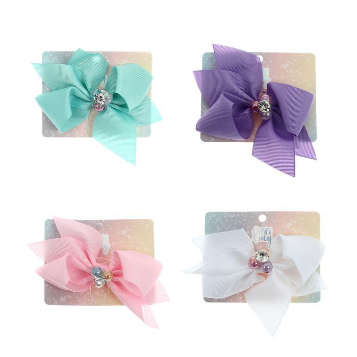 Gomita de pelo infantil moño doble con perlas multicolor x1u