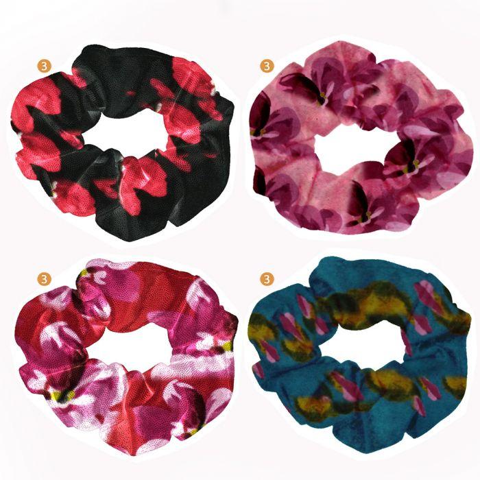 Scuncy tela estampada flores x1u