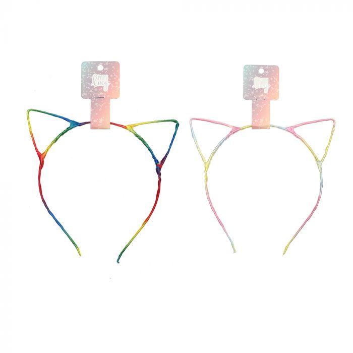 Vincha infantil orejitas de gatito multicolor x1u