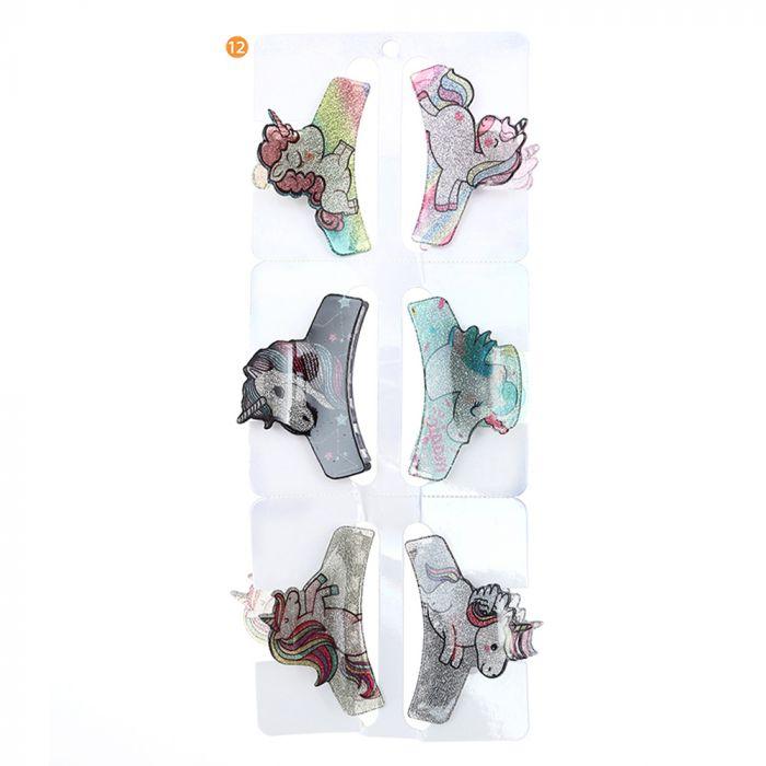 Broche infantil unicornio  6 cm con glitter x1u