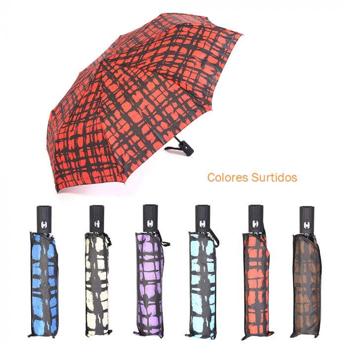 Paraguas dama estampado mini auto abre 8 varillas  55 cm x1u