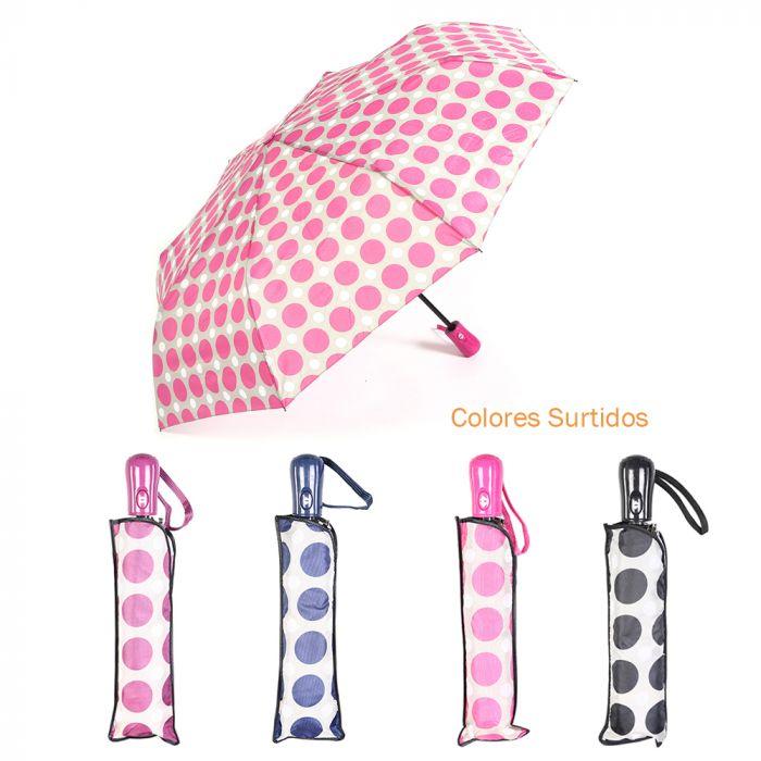 Paraguas dama estampado mini auto abre y cierra 8 varillas 55 cm x1u