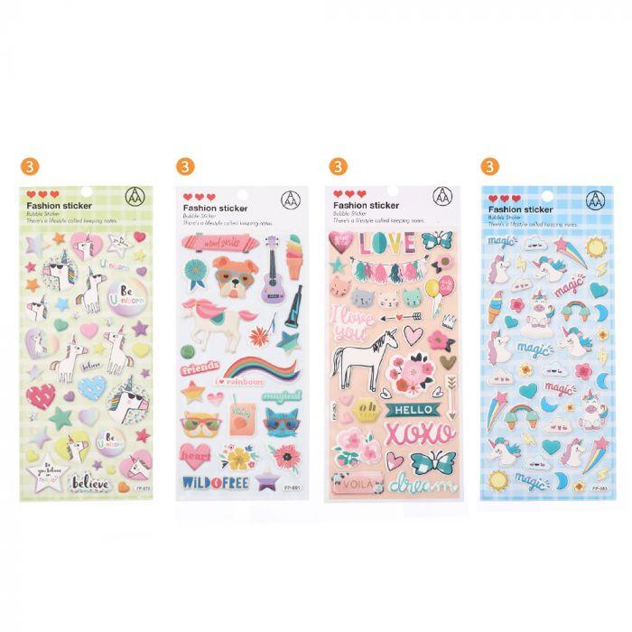 Plancha stickers surtidos x1u