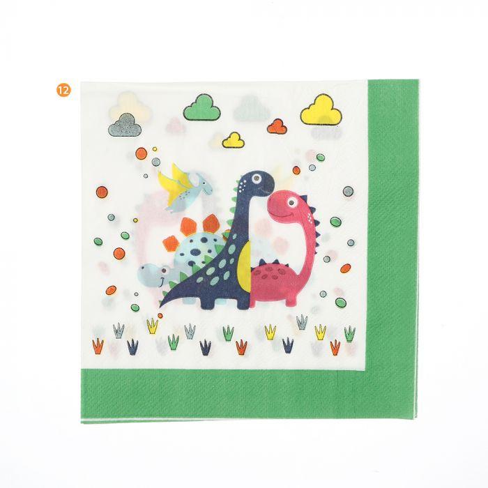 Bolsa de Servilletas descartables dinosaurio 16.5 cm x20u