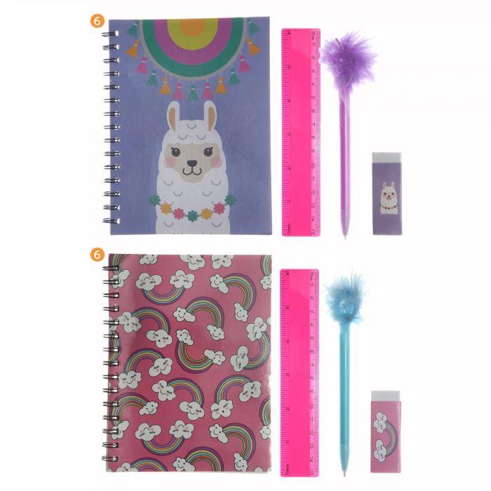 Set cuaderno 50 hojas, lapicera, goma y regla x1u