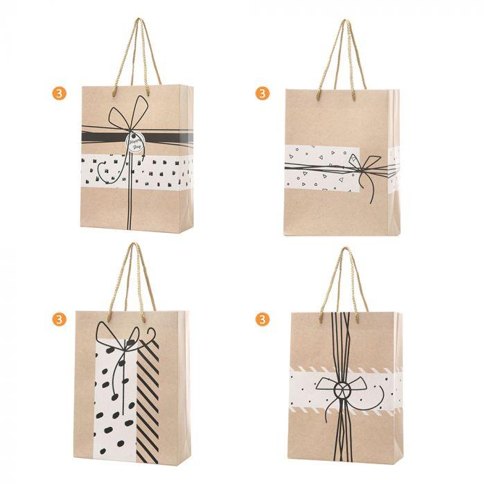 Bolsa de regalo cartón estampada 24x18x8 cm x1u