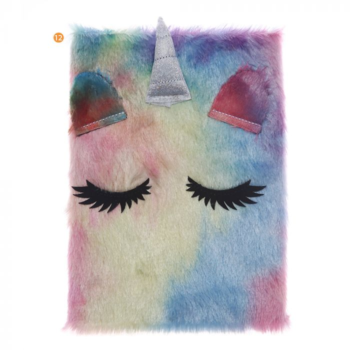 Cuaderno peluche ojos unicornio A5 80 hojas rayadas x1u