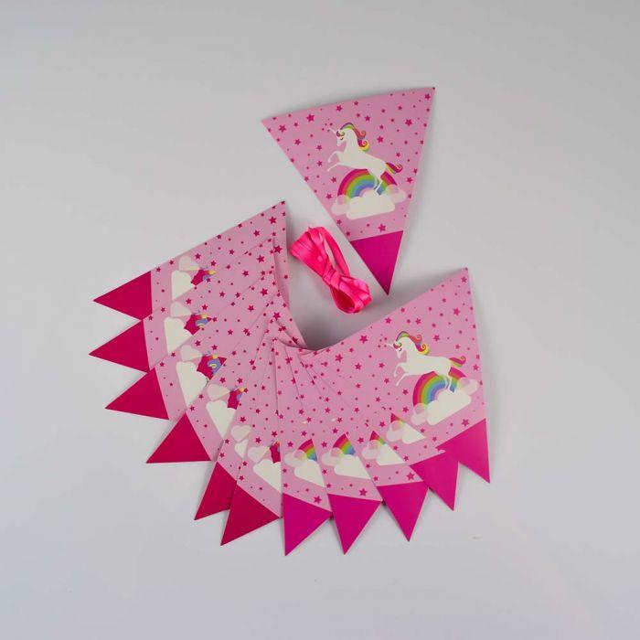 Banderines infantil diseño unicornio arcoiris x1u