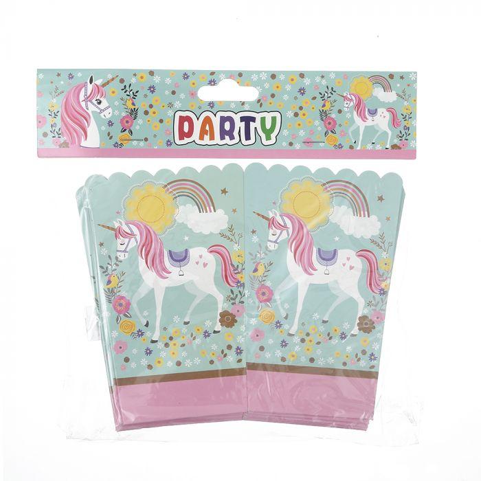 Caja pochoclo infantil diseño unicornio x10u