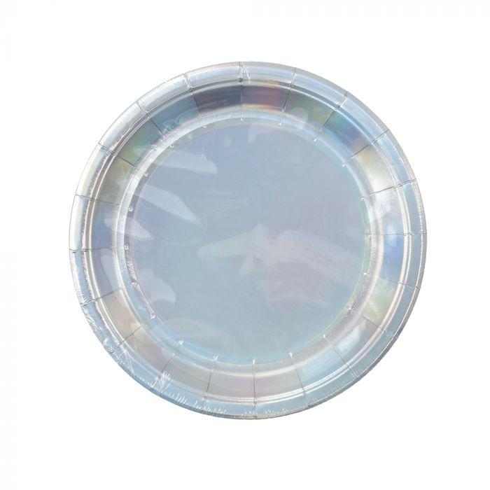 Platos descartables 7 pulgadas holograma x10u