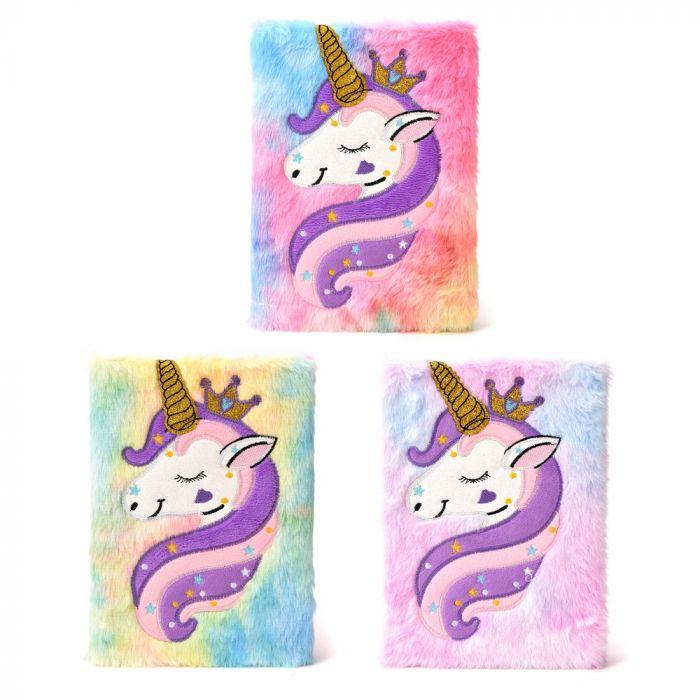Cuaderno peluche con parche unicornio 70 hojas A5 x1u