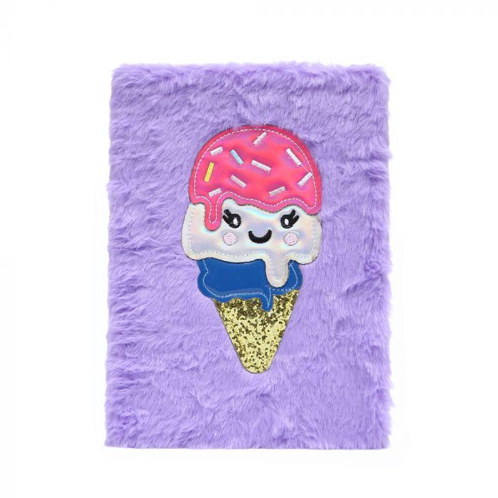 Cuaderno peluche con parche helado 70 hojas A5 x1u