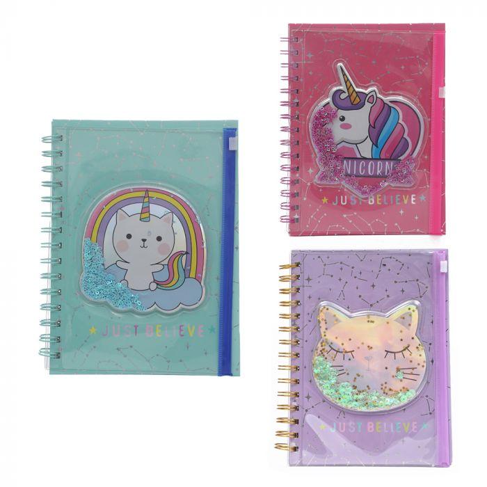 Cuaderno con cartuchera ziplock lentejuelas 80 hojas A5 x1u