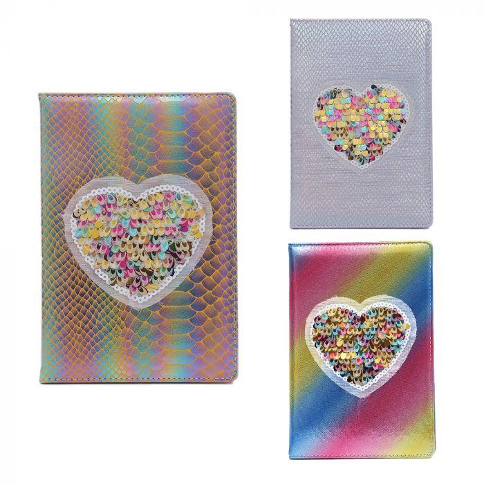 Cuaderno PU con parche corazon de  lentejuelas 80 hojas A5 x1u