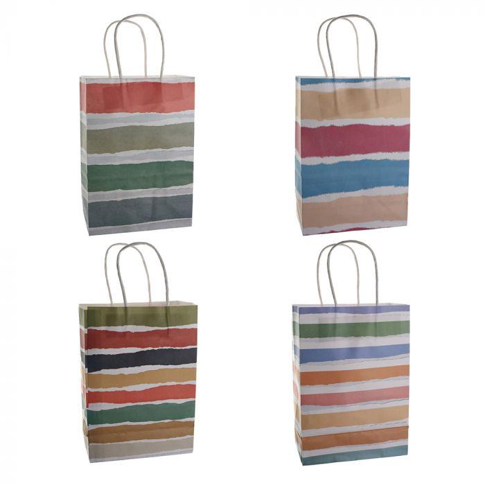 Bolsa de regalo papel estampado rayas 15x8x21 cm x1u