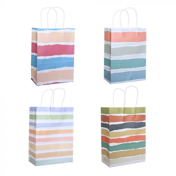 Bolsa de regalo papel estampada rayas 18.5x9.5x25.5 cm x1u