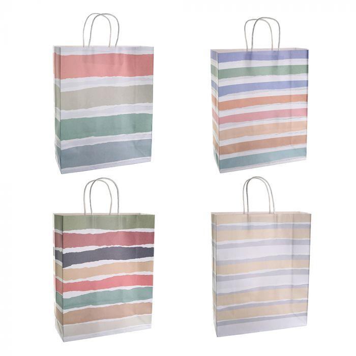 Bolsa de regalo papel estampada rayas 25.5x12.5x37 cm x1u