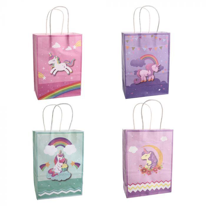 Bolsa de regalo papel estampada unicornio 15x8x21 cm x1u