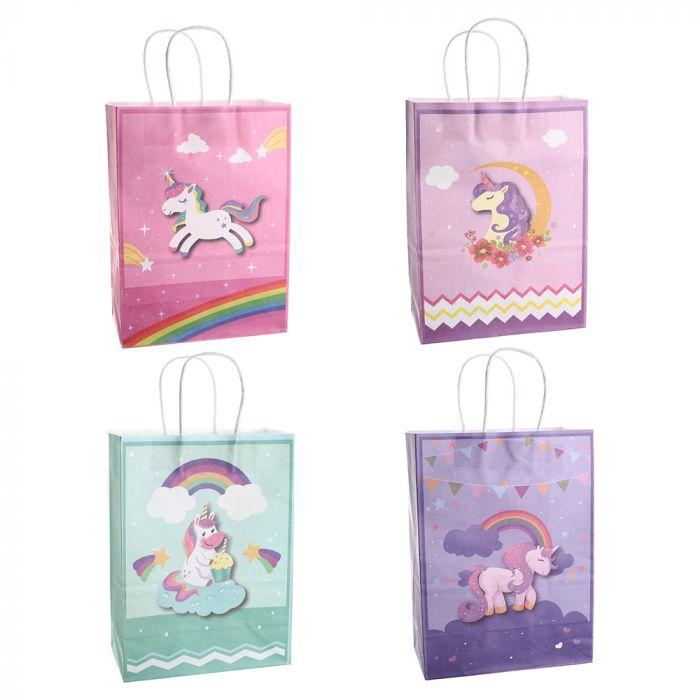 Bolsa de regalo papel estampada unicornio 18.5x9.5x25.5 cm x1u