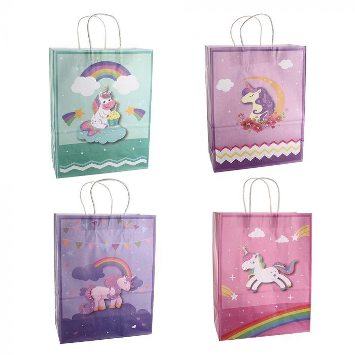 Bolsa de regalo papel estampada unicornio 25.5x12.5x37 cm x1u