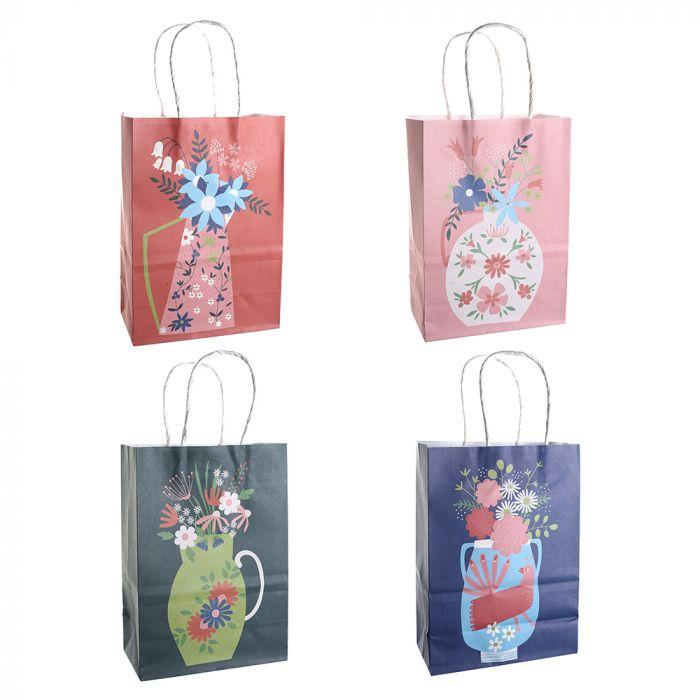 Bolsa de regalo papel estampada Floral 15x8x21 cm x1u
