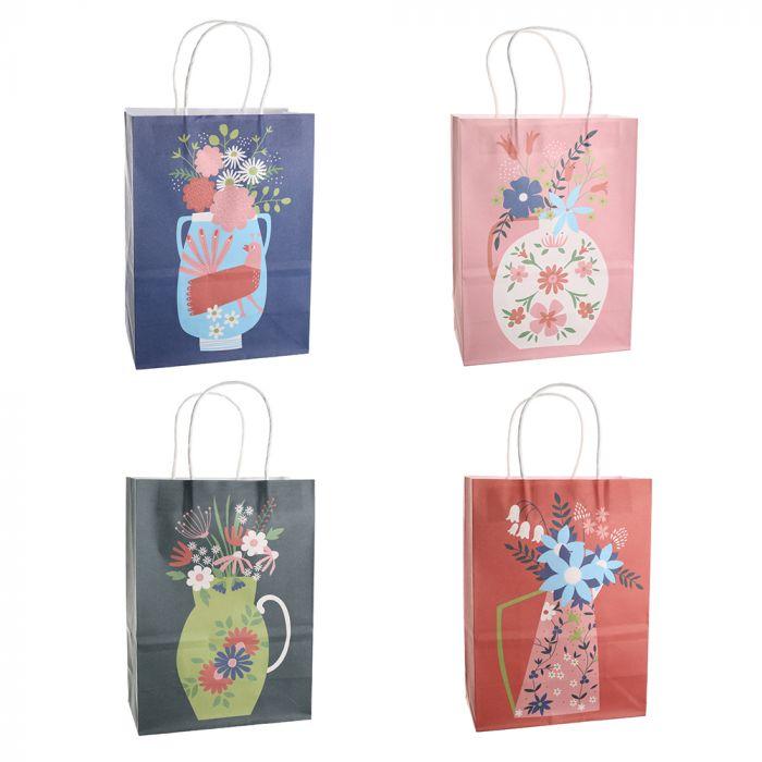 Bolsa de regalo papel estampada Floral 18.5x9.5x25.5 cm x1u