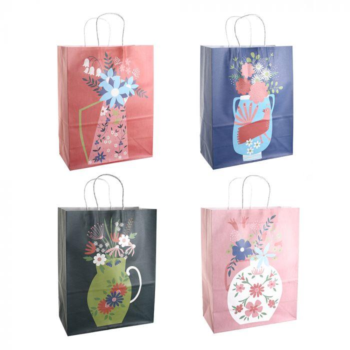 Bolsa de regalo papel estampada Floral 25.5x12.5x37 cm x1u