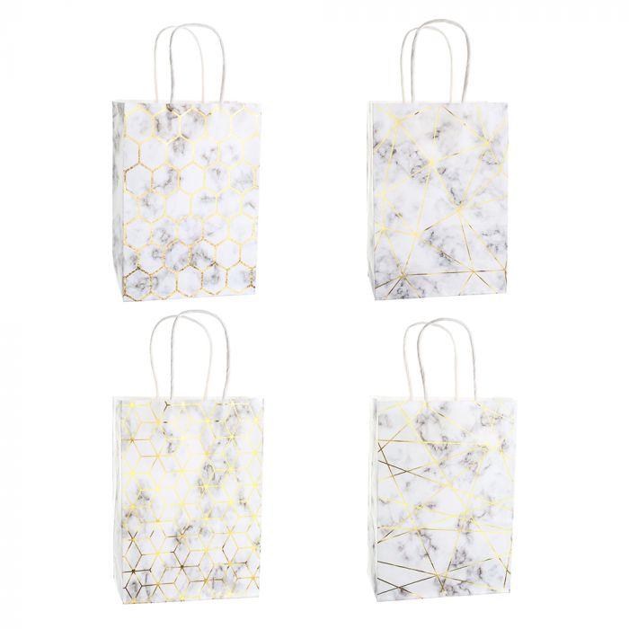 Bolsa de regalo papel estampada marmol con foil 15x8x21 cm x1u